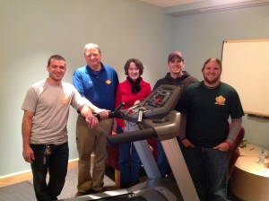 Pictured in photo: Greg Weber, owner of Huntsville Fitness Equipment, and his crew with Jane Orton, NCAC Intervention Director.