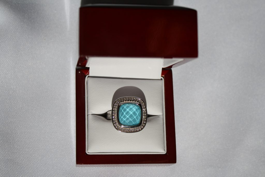 Charles Garnier Antibes Sterling Silver with Rhodium Mesh Ring displaying one 14 x 14 Turquoise Doublet donated by Donny's Diamond Gallery