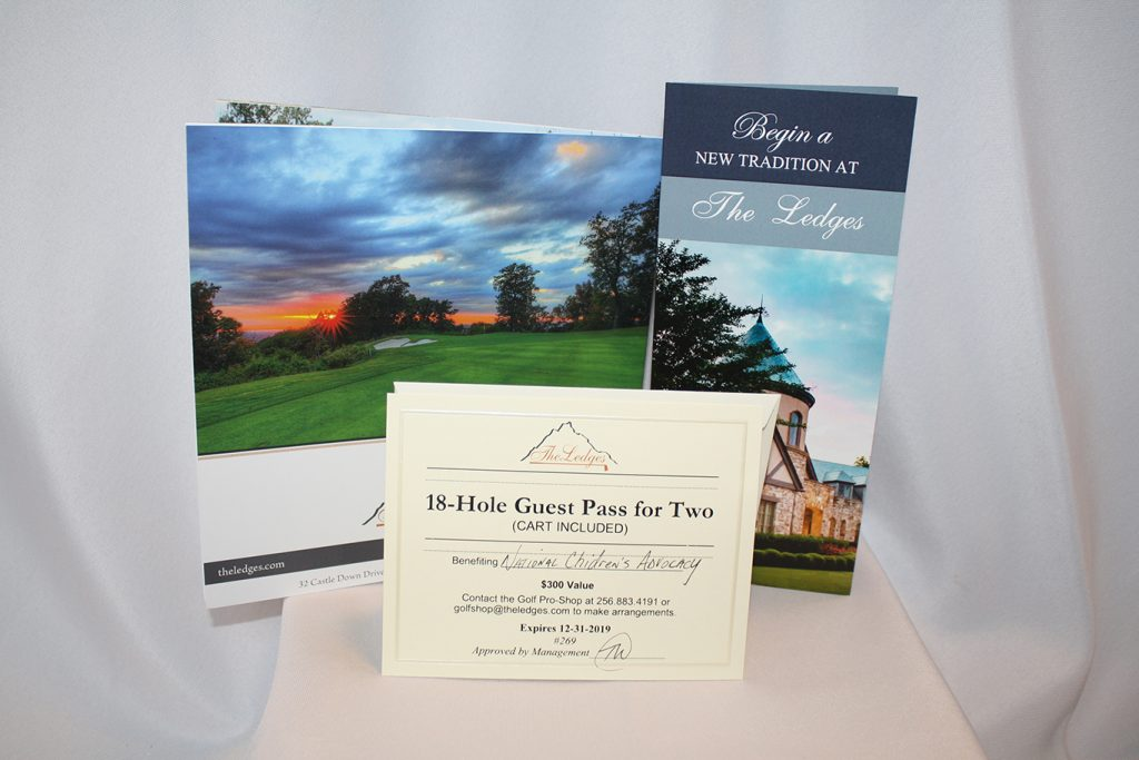Golf Package, including golf for two and golf cart rental for a day on the greens donated by The Ledges