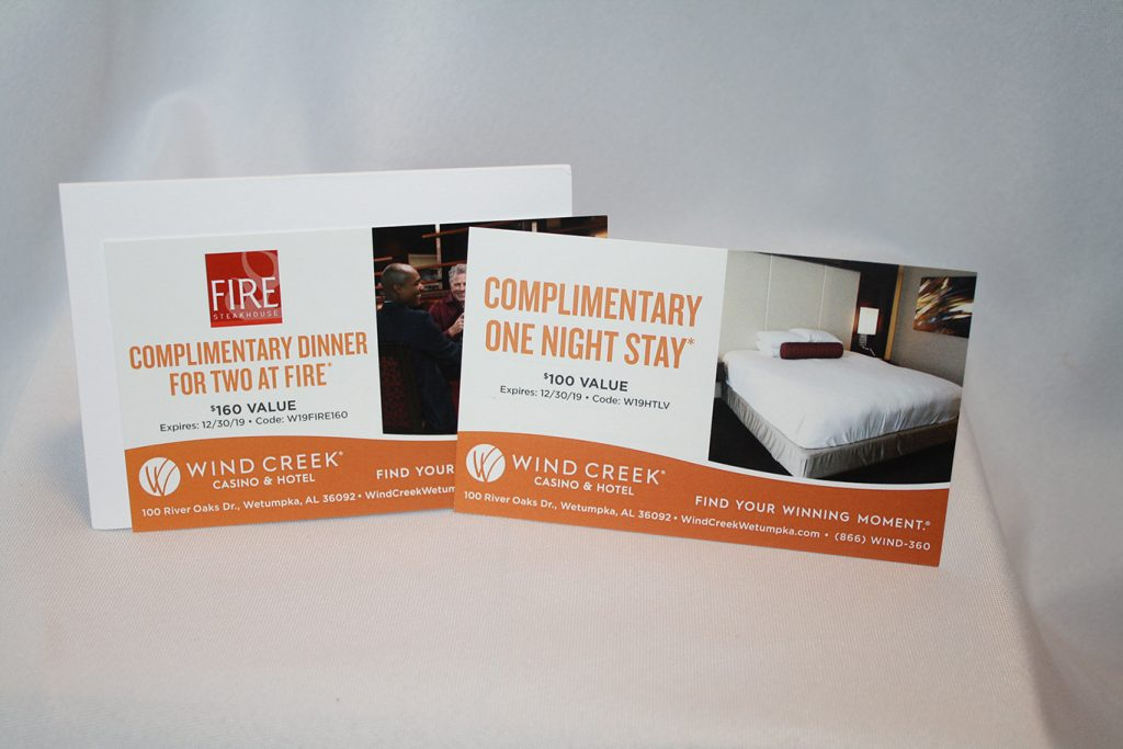 One night hotel stay and dinner for two at Wind Creek Resort.