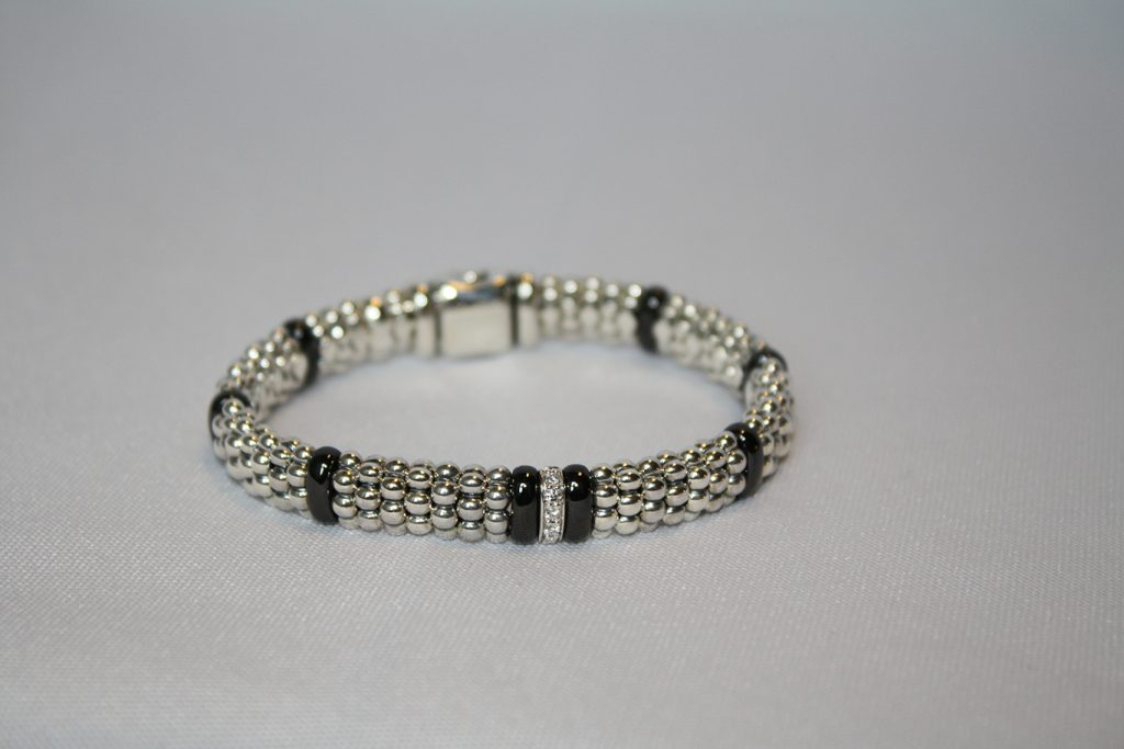 Lagos, Caviar Beaded Bracelet with diamond accents donated by Osborne's