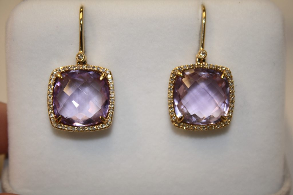 Checkerboard Amethyst, 14K Gold Drop Earrings donated by Meyer and Lee Fine Jewelry